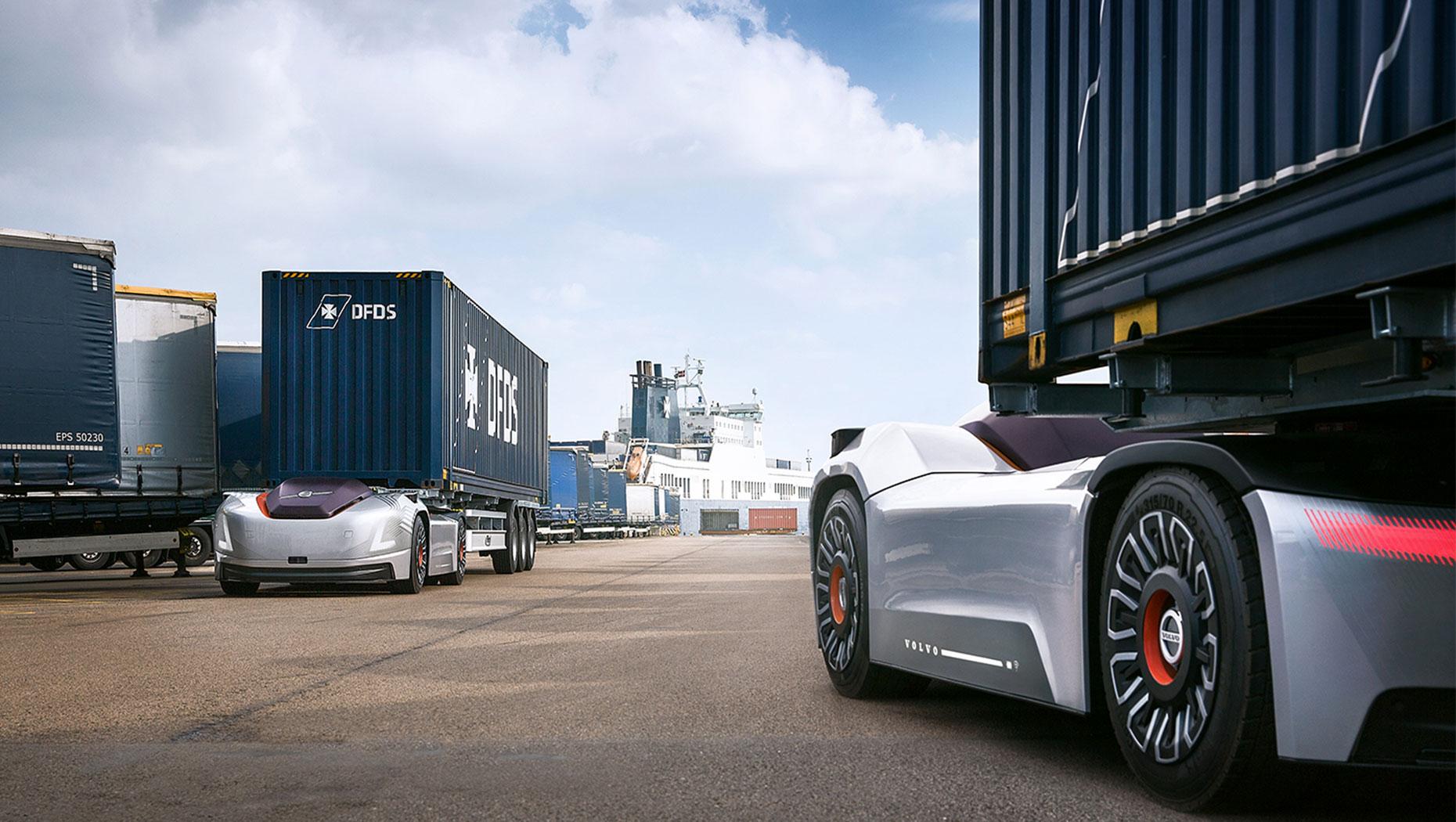 Autonom transport mellom et logistikksenter og en havn